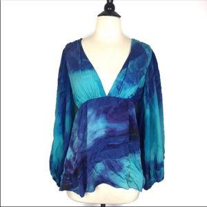 Alice + Olivia Blue Silk Tie Dye Blouse